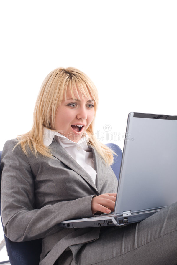 Download Amazed Businesswoman With Laptop In Chair Stock Image - Image: 7303671