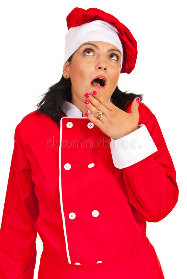 Download Amazed Chef Woman Looking Up Stock Photo - Image: 34513318