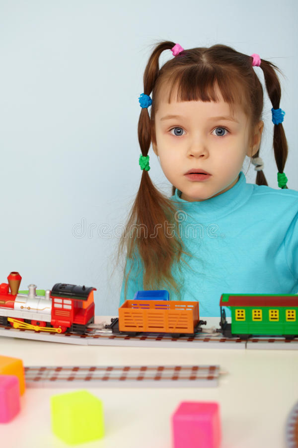 Download Amazed Child And Toy Railway Stock Photography - Image: 18602722
