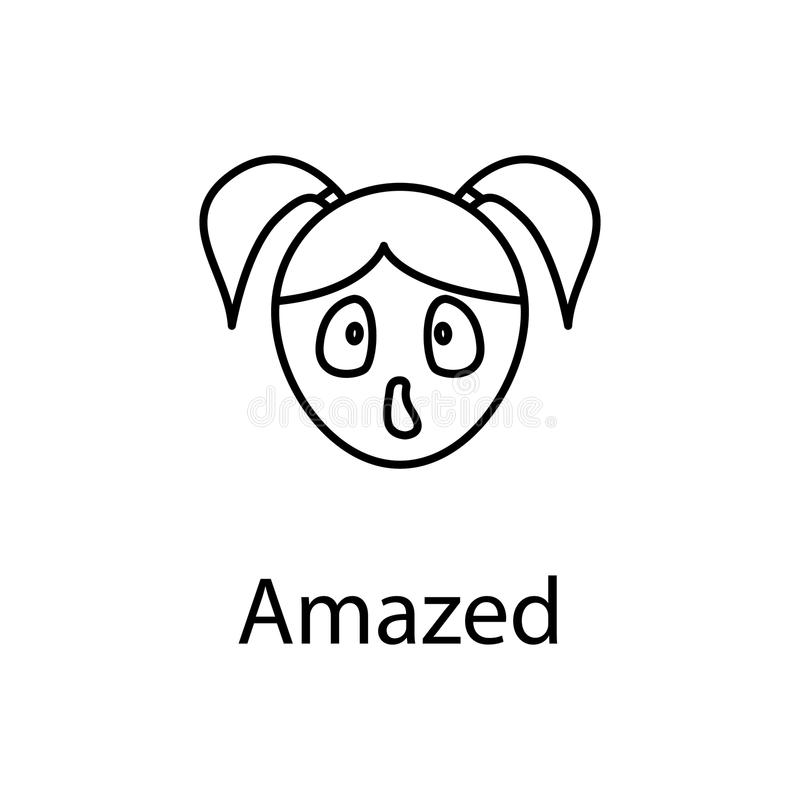 amazed girl face icon. Element of emotions for mobile concept and web apps illustration. Thin line icon for website design and dev royalty free illustration