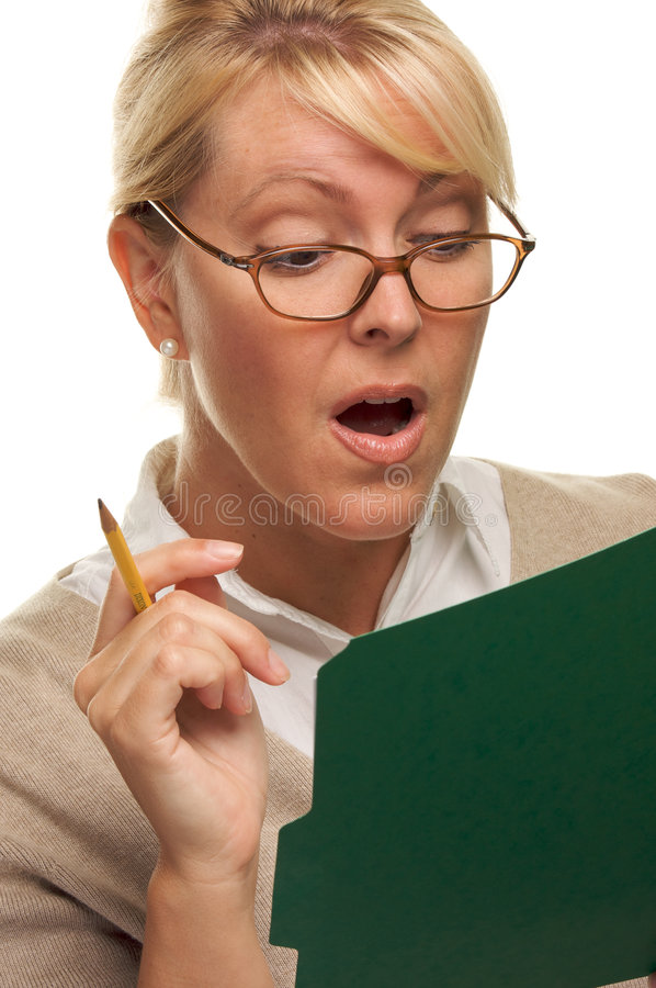Download Amazed Girl Reads a File stock image. Image of blond, female - 5767279