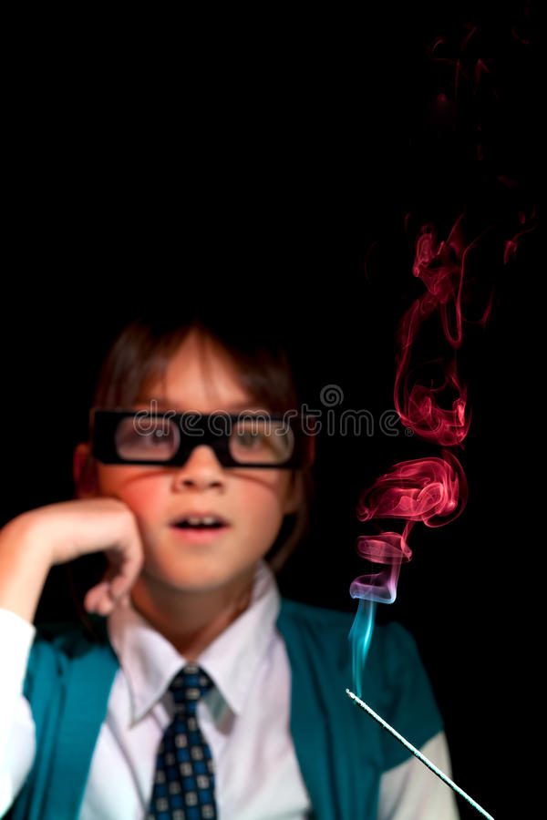 Amazed By The Incense Smoke. Royalty Free Stock Photos