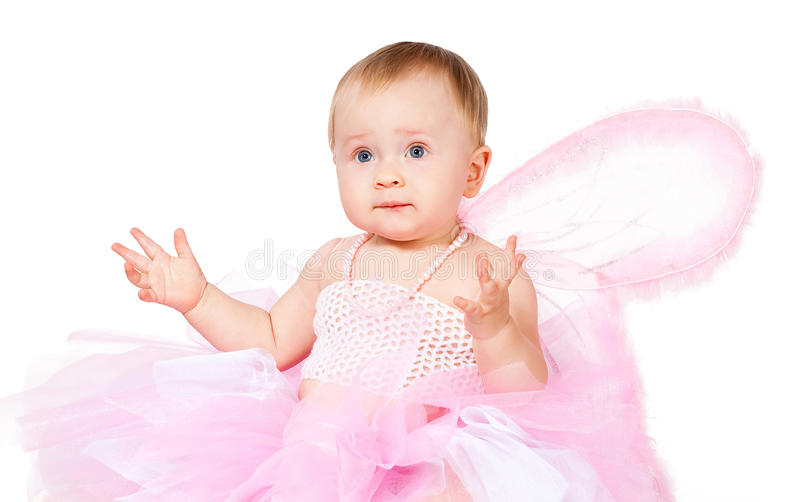 Download Amazed Infant Girl In Fairy Attire Isolated Stock Photo - Image: 23264262