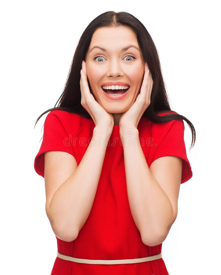 Download Amazed Laughing Young Woman In Red Dress Stock Image - Image of looking, caucasian: 35402551
