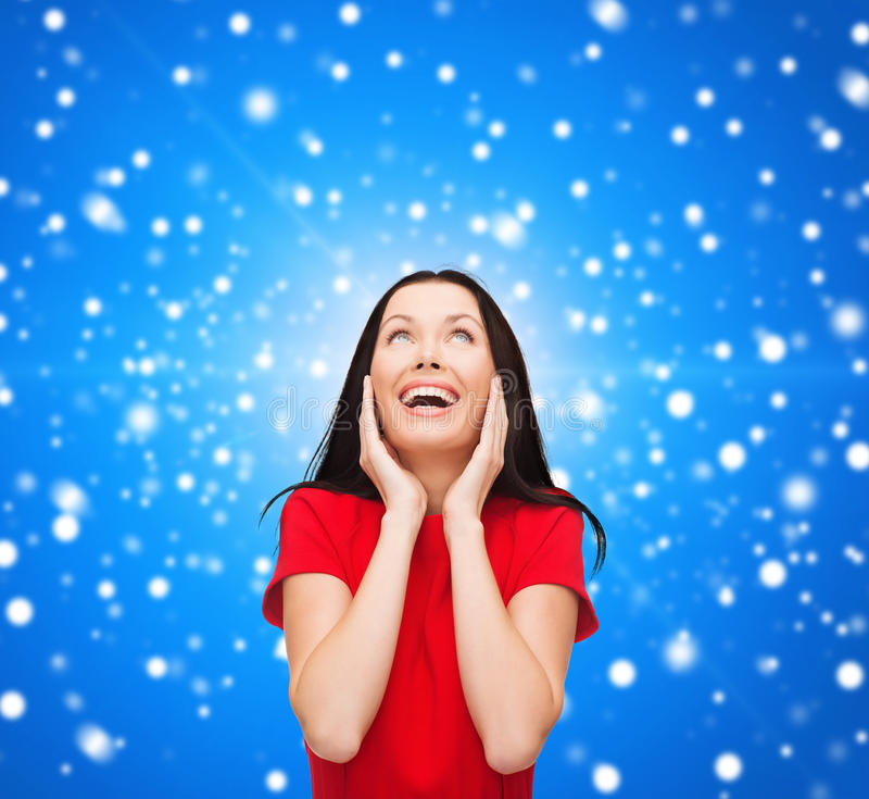 Download Amazed Laughing Young Woman In Red Dress Stock Photos - Image: 37258583