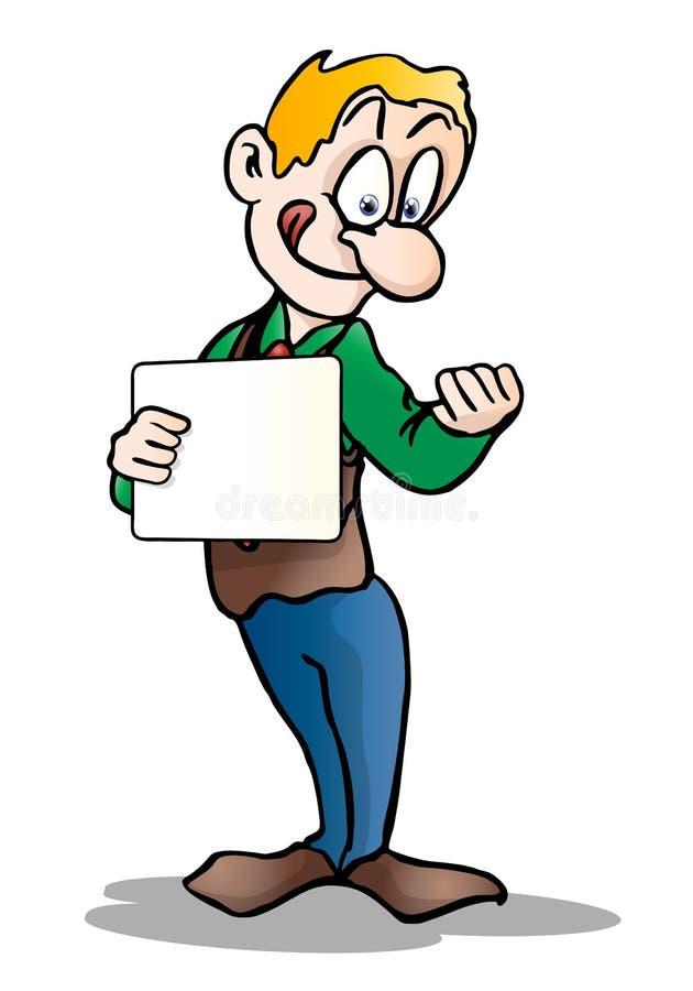 Download Amazed Man Holding Blank Board Stock Illustration - Illustration of emotion, shock: 21451625