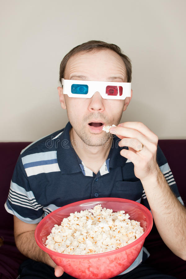 Download Amazed Man Watching A Movie Stock Photo - Image: 30162524