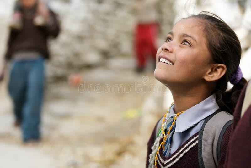 Amazed Nepalese little girl stock image