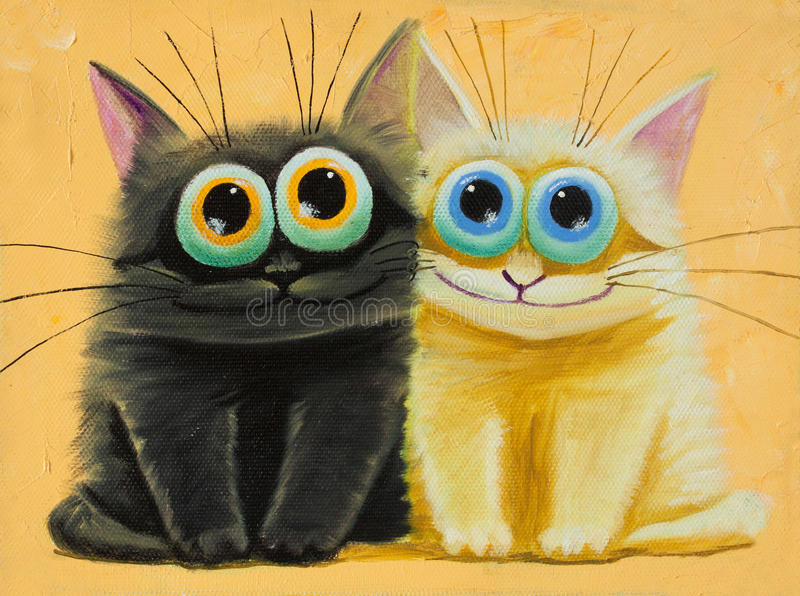 Amazed. An original painting on canvas of white and black funny cats with big eyes, joy and happy mood, part of collection vector illustration