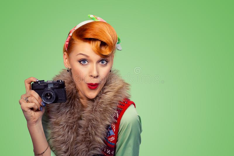 Amazed pinup style woman girl with digital camera stock photos