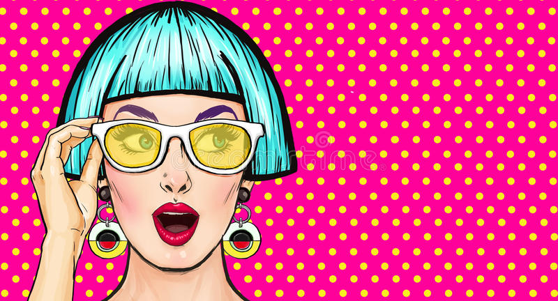 Amazed Pop Art girl in glasses. Party invitation.Birthday card.Comic woman.Sexy girl. Sale. Vintage poster vector illustration
