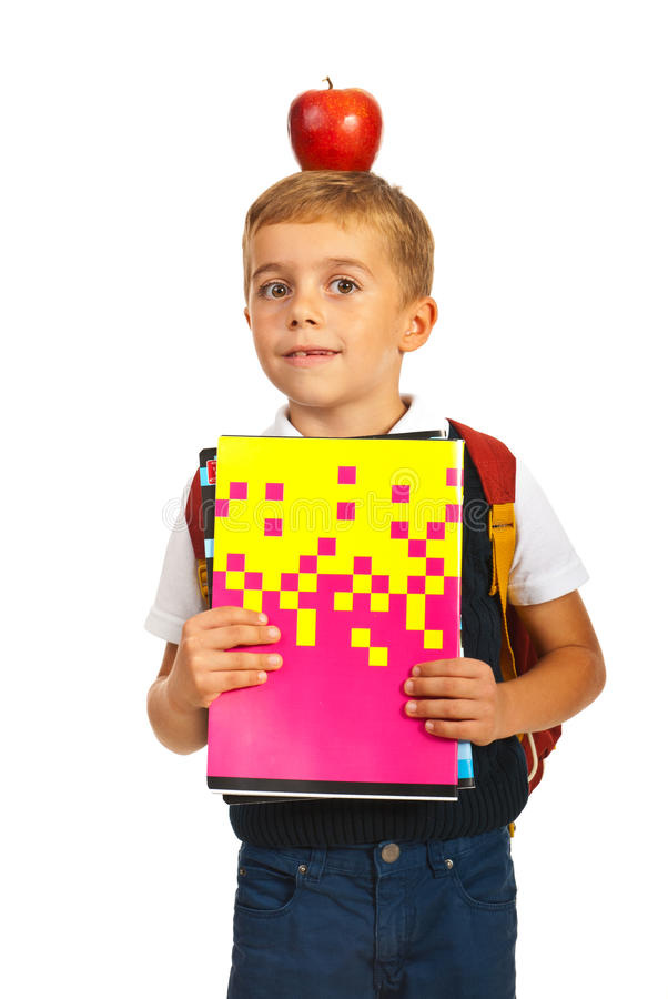 Amazed Schoolboy With Apple On Head Stock Photo