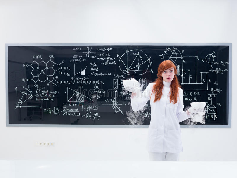 Amazed Student In Chemistry Lab Stock Photography