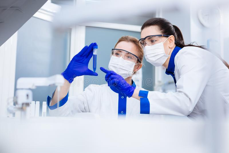 Amazed tensed researchers making breakthrough. New observation. Pleasant exited young researchers noticing strange reaction in the test tube when one women royalty free stock photo