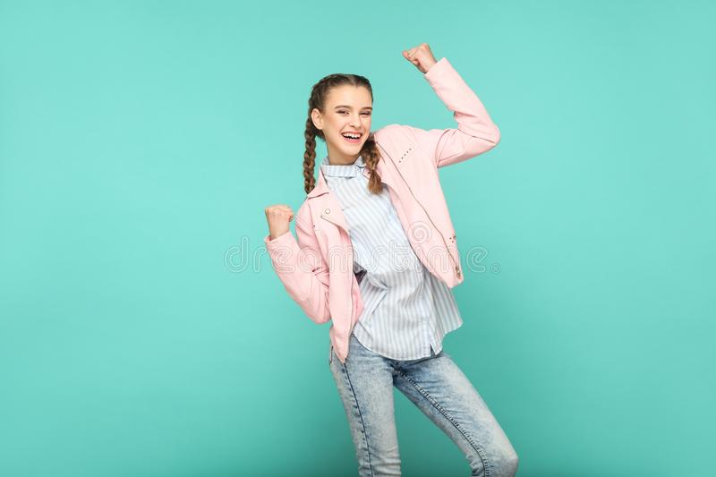 Amazed winner portrait of beautiful cute girl standing with make royalty free stock photos