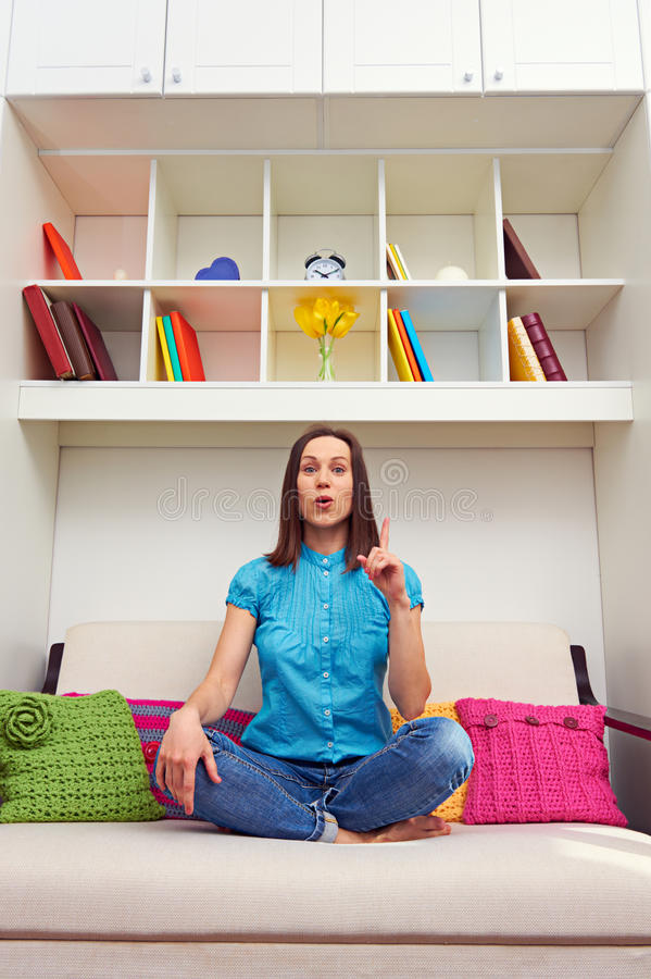 Download Amazed woman have a idea stock photo. Image of sofa, couch - 29698448