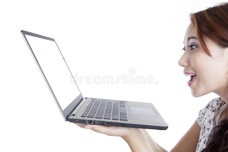 Download Amazed Woman With Laptop Computer Stock Image - Image: 26656483