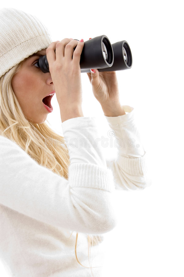 Download Amazed Woman Looking Through Binoculars Stock Photo - Image: 8244136