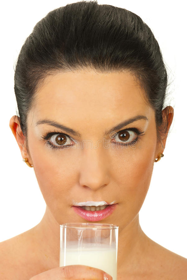 Amazed Woman With Milk Mustache Royalty Free Stock Photography