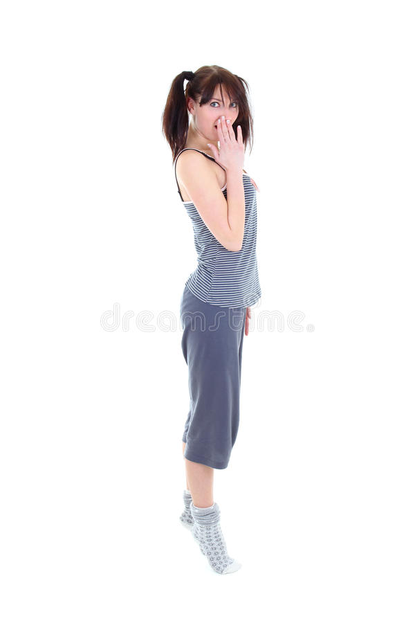 Download Amazed Woman In Pajamas Over White Stock Photo - Image: 22998014