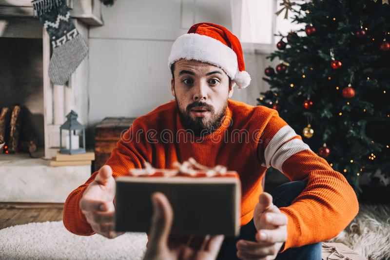 Portrait of attractive man before christmas stock images