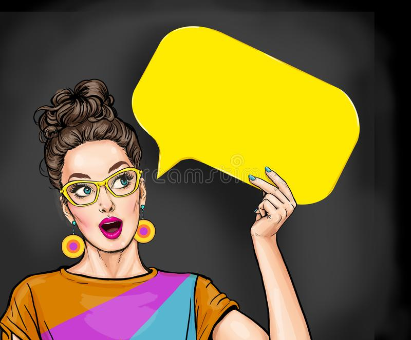 Amazed young sexy woman with open mouth looking up on empty yellow bubble.Thinking pop art girl stock illustration