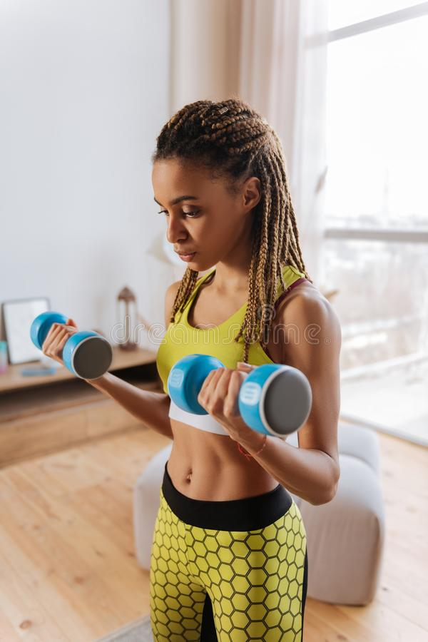 Woman with little braids and amazing abs holding hand weights royalty free stock photos