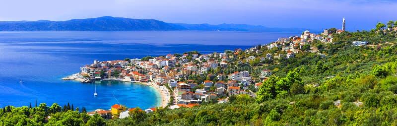 Amazing Adriatic coast. Beautiful beaches and villages of Croatia - Igrane in Makarska riviera stock photos