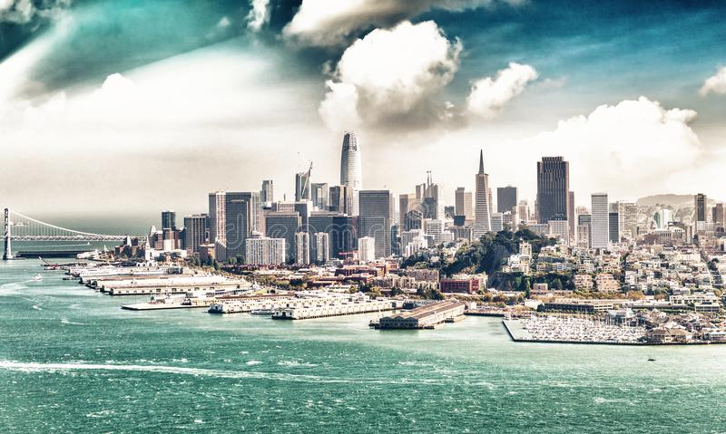 Amazing aerial skyline of San Francisco from helicopter, California - USA.  stock photos