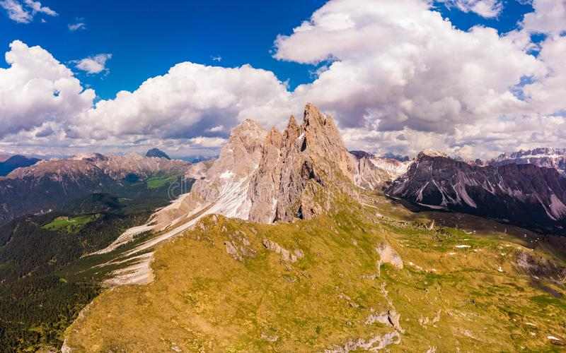 Amazing aerial top view on Seceda Mount peak and valley from drone. Trentino Alto Adige, Dolomites Alps, South Tyrol, Italy,. Europe near Ortisei. Odle mountain stock photos