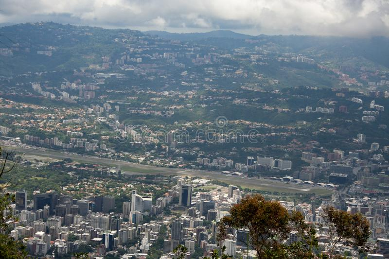 Amazing aerial view of the city of Caracas from the iconic mountain of the capital of Venezuela, El Avila or Waraira Repano royalty free stock image