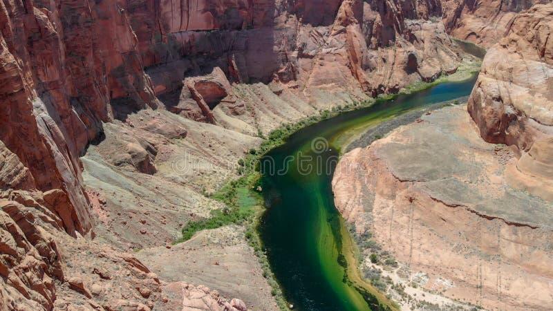 Amazing aerial view of Horseshoe Bend, Page, Arizona, United Sta. Tes stock photos