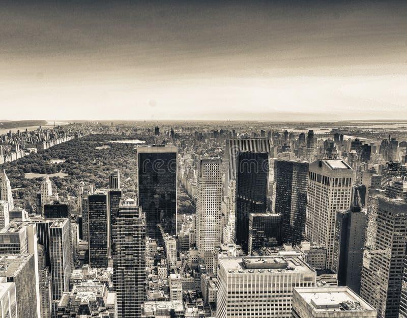 Amazing aerial view of Manhattan skyline - New York City stock photo