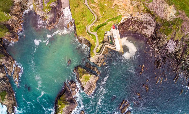 Amazing aerial view over Dunquin Pier Ireland on Dingle Peninsula Slea Head. Travel photography stock photo
