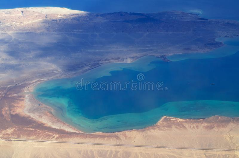 Aerial view of Sinai, Sharm El Sheikh and islands in the Red sea. stock image