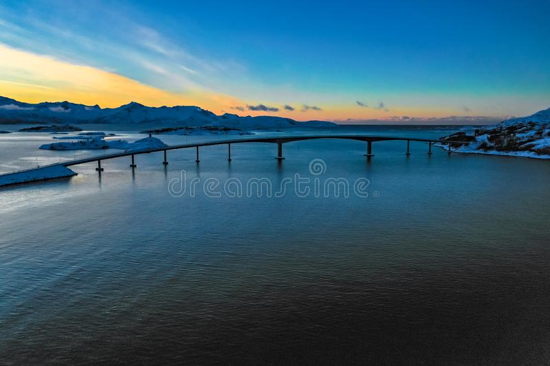 Amazing aerial view of Sommaroy Northern Norway stock photo