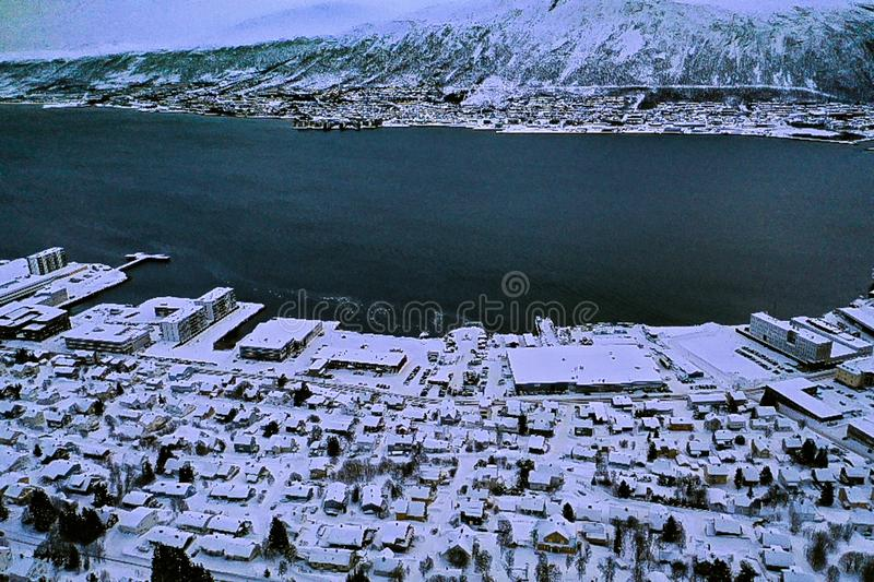 Amazing aerial view of Tromso Norway royalty free stock photos