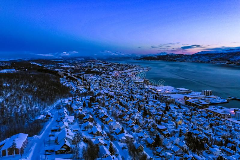 Amazing aerial view of Tromso Norway stock photos
