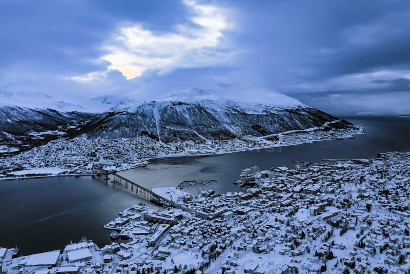 Amazing aerial view of Tromso Norway stock photo