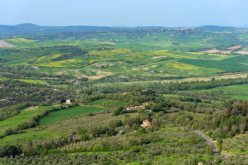 Amazing aerial view of Tuscany from Fortress of Tentennano. Beautiful panorama landscape near Castiglione d`Orcia,Tuscany, Italy royalty free stock images