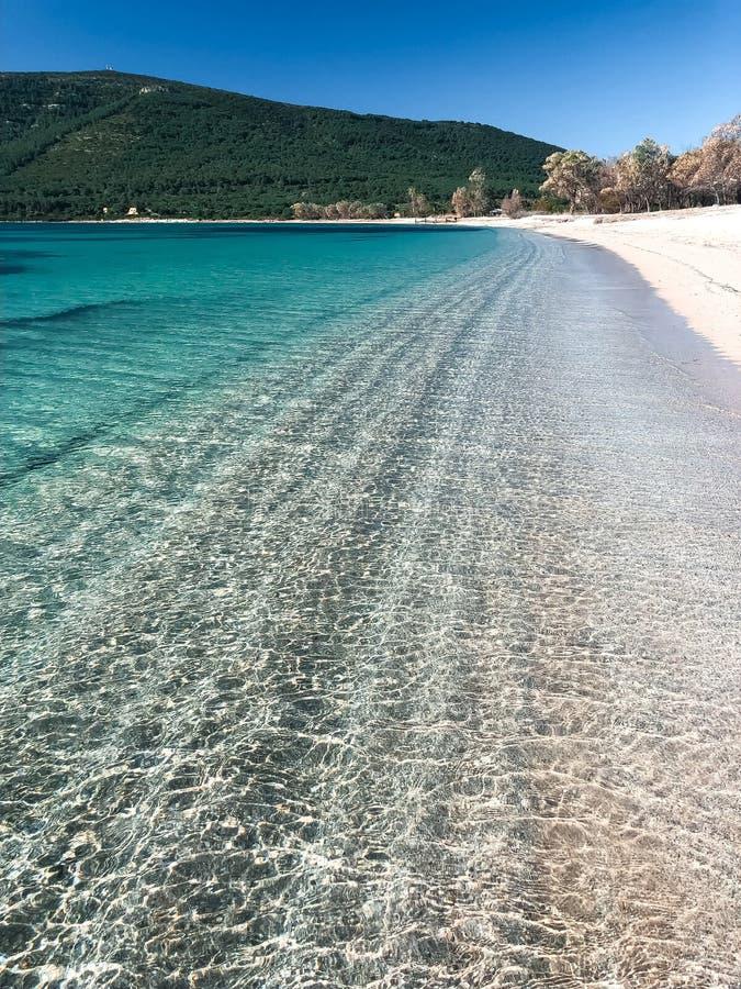 Amazing Alghero, Sardinia, mediterranean sea, Mugoni Beach, sunny summer day, walking on the shore. White sand and clear sky royalty free stock photo