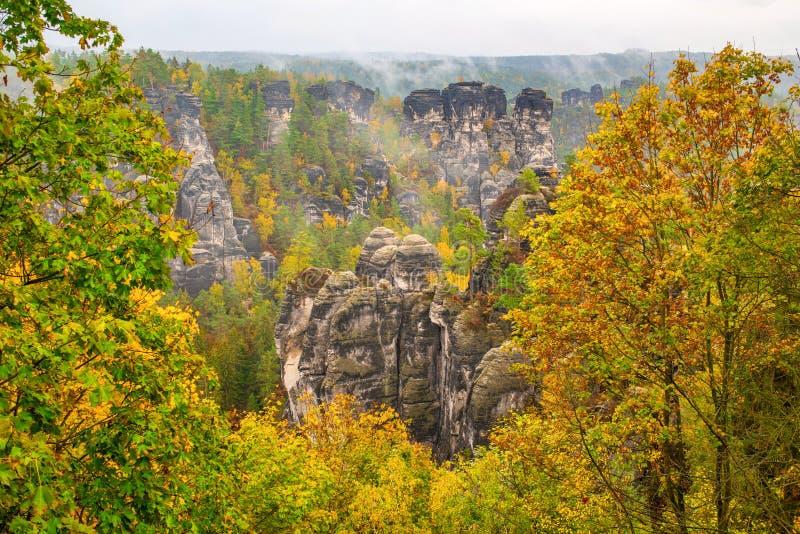 Amazing autumn scenery of Saxon Switzerland near Dresden, Germany stock photos
