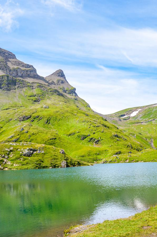 Amazing Bachalpsee lake in the Swiss Alps photographed in the summer season. Alpine lake and landscape. Popular landmark on the royalty free stock images