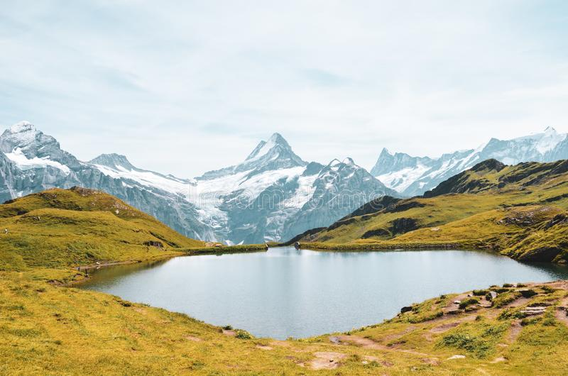 Amazing Bachalpsee in the Swiss Alps photographed with famous mountain peaks Eiger, Jungfrau, and Monch. Lake and Alpine landscape royalty free stock photography