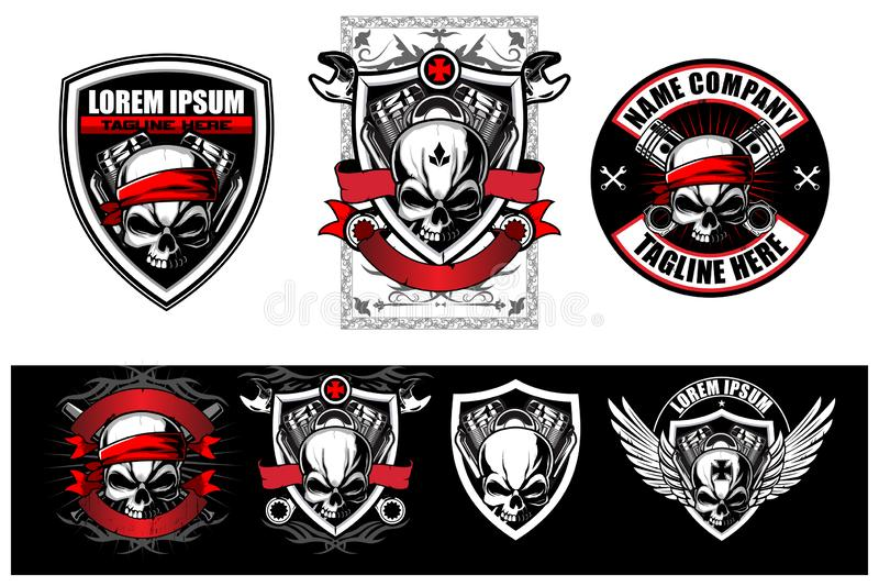 Amazing and badass set of skull biker motorcycle theme vector designs. Suiteble for everything printing used stock illustration