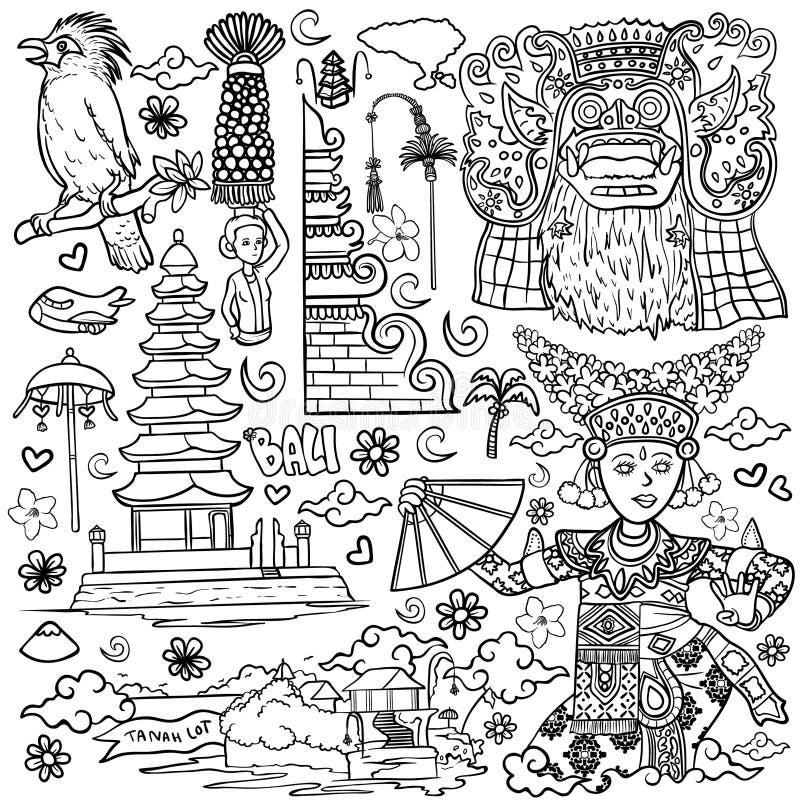 Amazing bali indonesia outline illustration isolated royalty free illustration