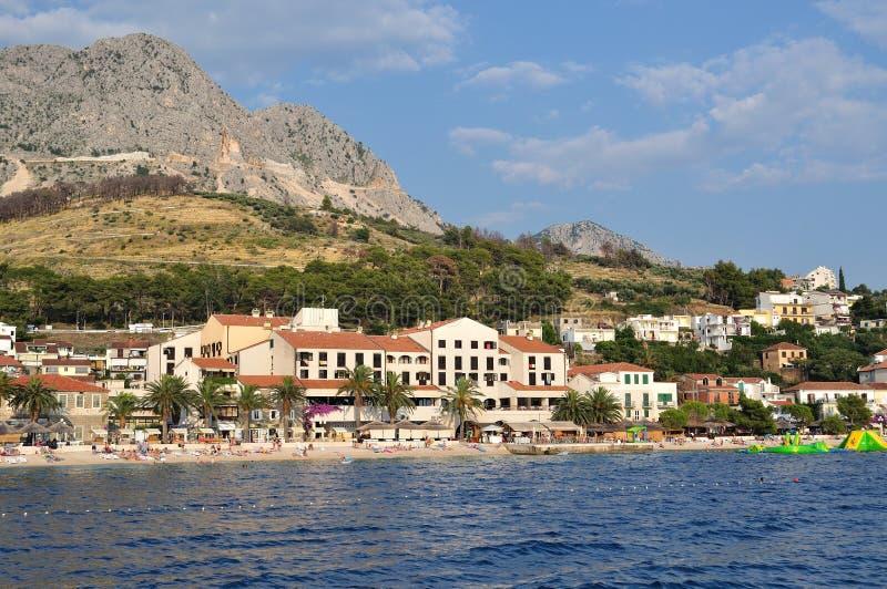 Amazing beach of Podgora with people. Croatia stock image