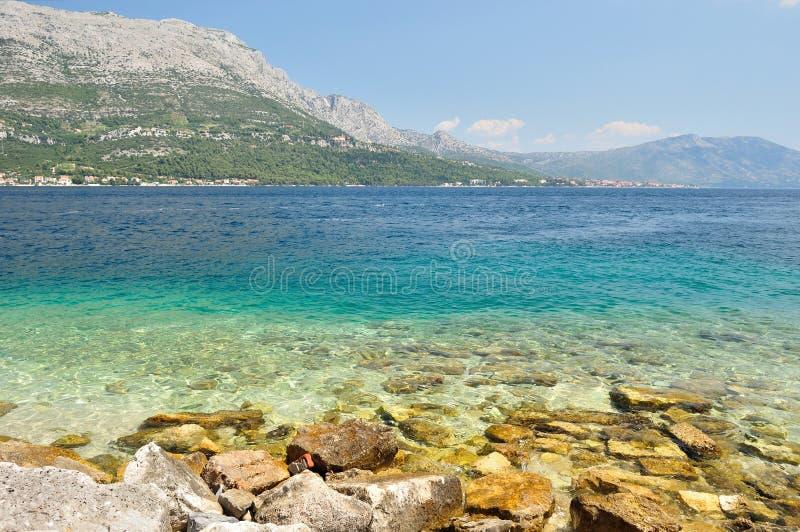Amazing beach with stones in Kocula, Croatia stock image