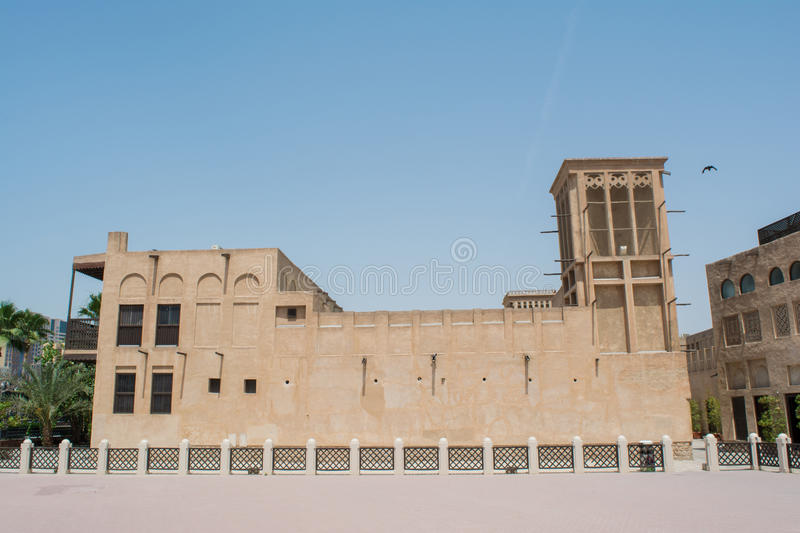 Amazing beautiful ancient historical creamy brown building. In the UAE stock photography