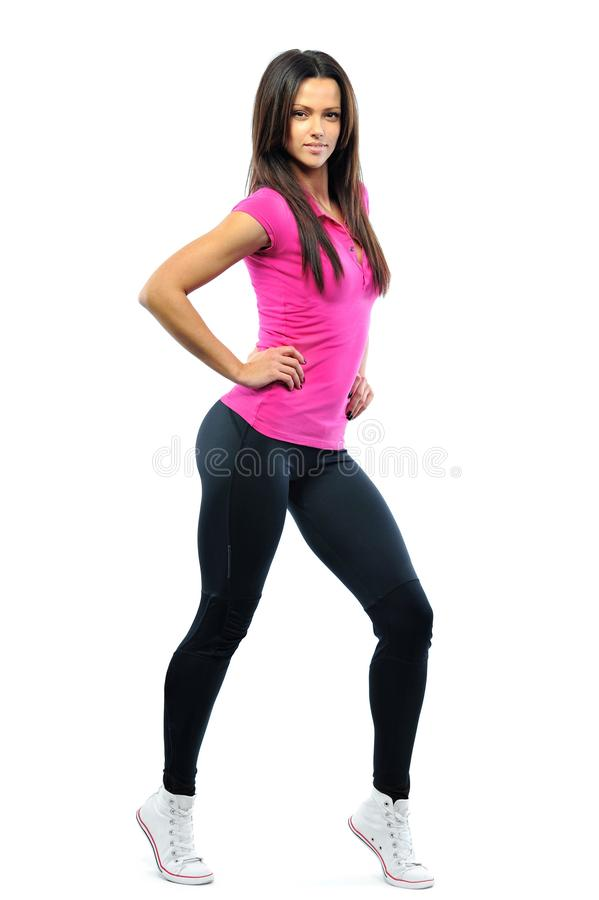 Amazing beautiful fitness girl isolated on white royalty free stock photo